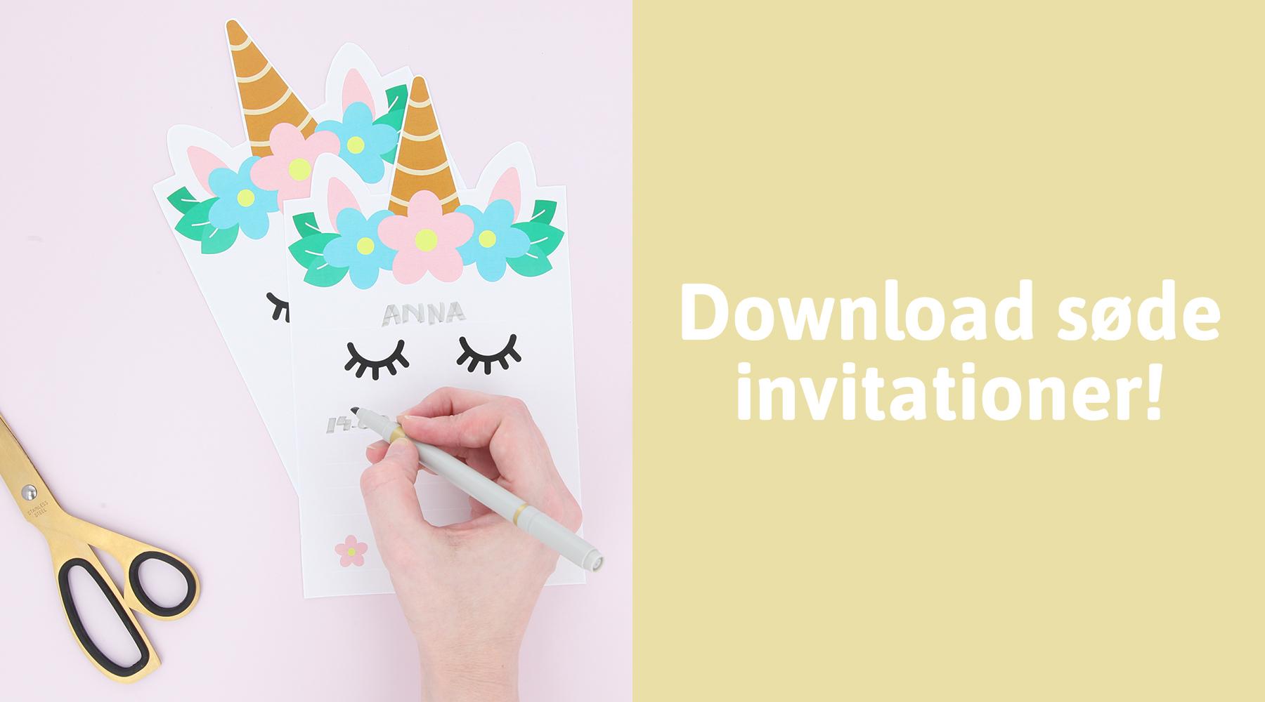 Invitationer til enhjørningefødselsdag