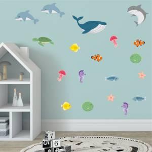 Seje wallstickers med fisk og havdyr